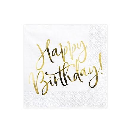 Servetter - Happy birthday, guld