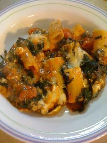 Rigatoni wth Spinach and Ricotta Cheese