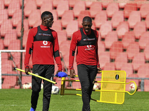 Orlando Pirates duo of Augustine Mulenga and Abel Mabaso, right, who has not started a game at Bucs. / Sydney Mahlangu/ BackpagePix