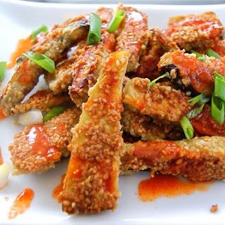 Sesame Eggplant with Sriracha-Honey Drizzle (grain free)