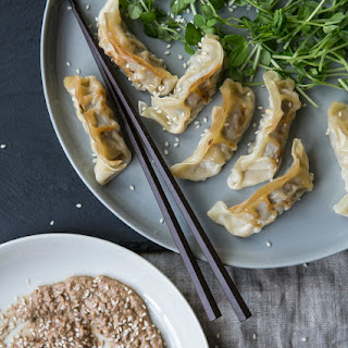 Swiss Chard Dumplings With A Walnut Sesame Miso.
