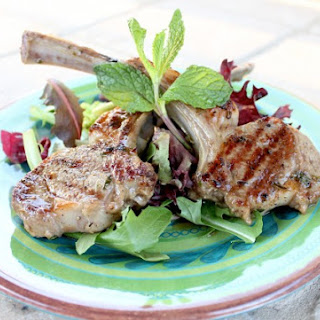 Marinated Grilled Lamb Chops with Mint Yogurt Sauce.
