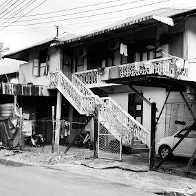 Old House by Adam Ling - Buildings & Architecture Homes ( car, building, old, black and white, car porch, house, pwcbuilding )