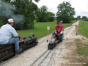 Photo: Pacific 1060 at left with Ben and Patty Benda on Doug Gillory's 2-6-0 at right.  HALS-SLWS 2009-0523