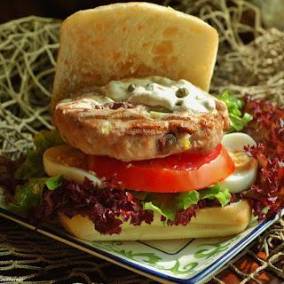 Tuna Niçoise Burger with Caper and Grain Mustard Aioli.