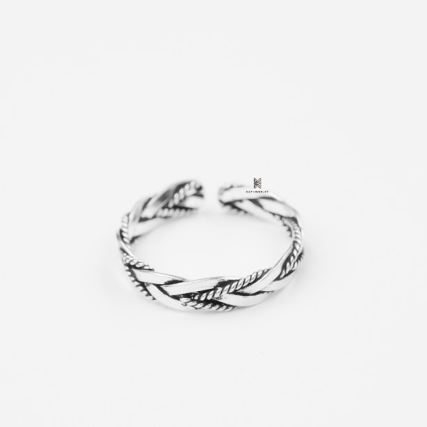 Nhẫn bạc cao cấp 925 toe ring oxidize twisted