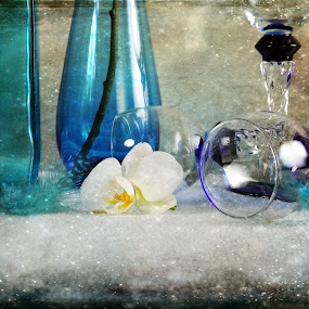 Party in Blue by Randi Grace Nilsberg - Artistic Objects Still Life ( life, glasses, orchid, blue, elegant, still, party, flower, floral,  )