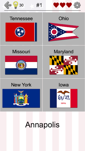 50 US States Map, Capitals & Flags - American Quiz Screenshot