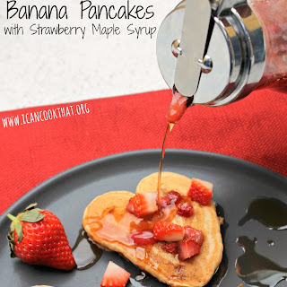 Peanut Butter Banana Pancakes with Strawberry Maple Syrup.