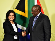 President Cyril Ramaphosa with Adv Shamila Batohi, the new National Director of Public Prosecutions, during a media briefing at the Union Buildings.