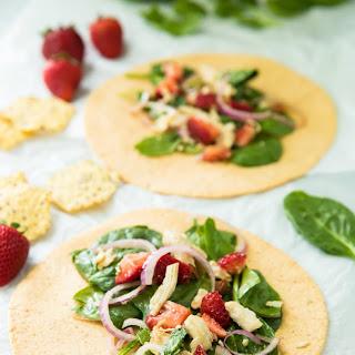Strawberry Spinach Chicken Salad Wrap.