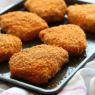 "Oven ""Fried"" Breaded Pork Chops."