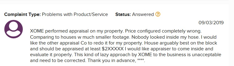 Xome review bad appraisal