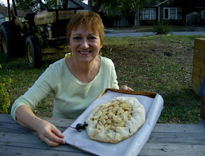 Photo: birthday girl with rustic apple gallette, and our throw-down mouse, 11/13/11