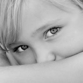 The Eyes of a Child by Eddie Yerkish - Black & White Portraits & People ( child, b&w, bw, white, children, kids, people, portrait, black, and, eyes )