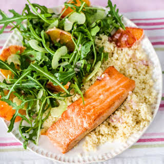Salmon, Citrus Salad, and Couscous.
