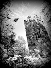 Photo: Black and white photo of a stone castle tower at Hills and Dales Metropark in Dayton, Ohio.