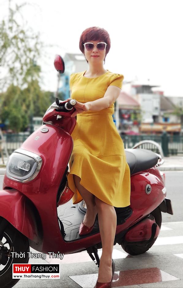 Váy xòe công sở dạo phố màu vàng cam V699 thời trang thủy hải phòng 1