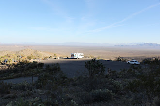 Photo: We reach Mitchell Caverns at dusk. The mountain west of us causes a premature sunset