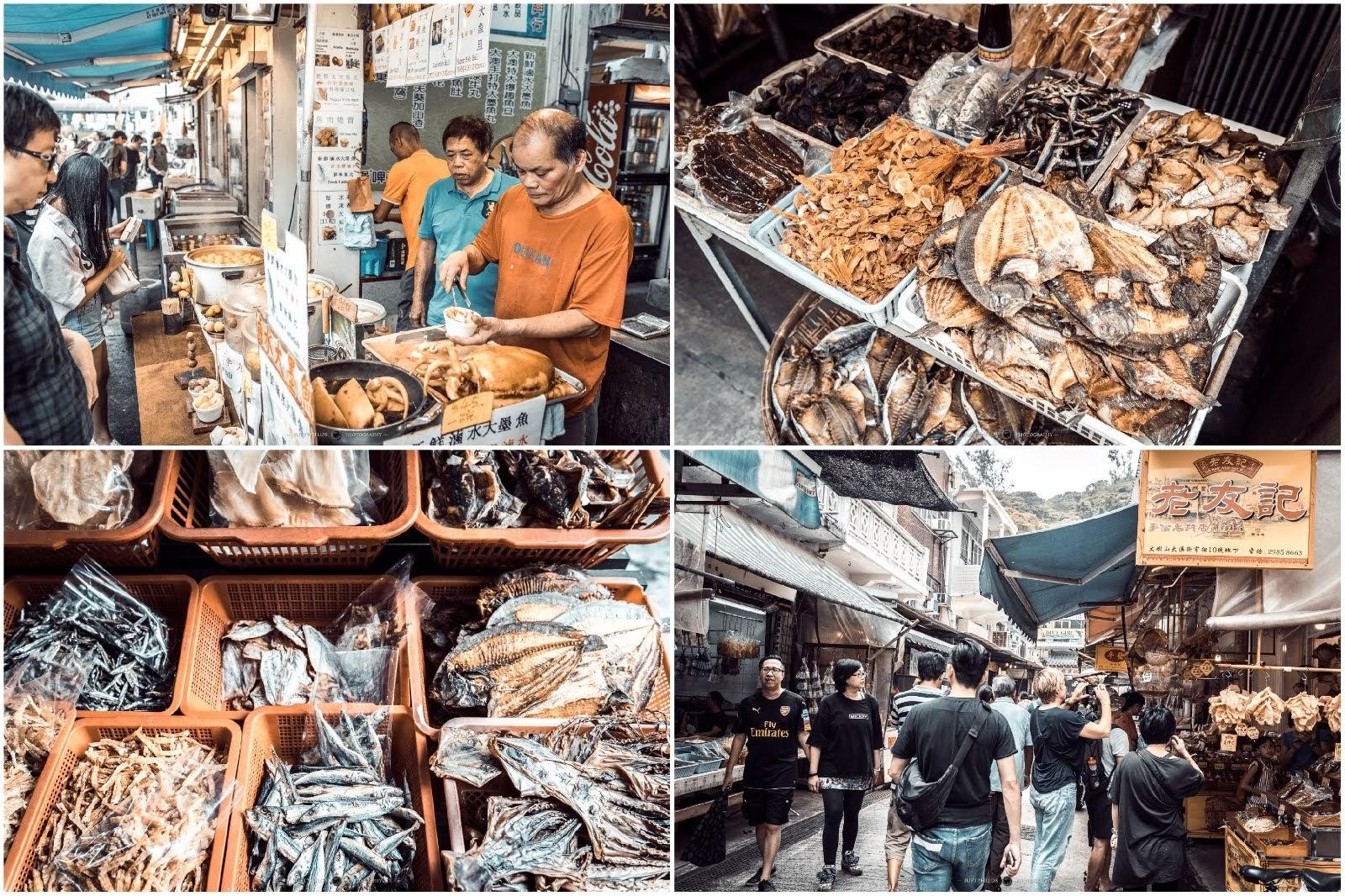 大澳漁村的小吃不少,隨處可見的魚乾和魚貨以外,像是超大魚蛋、滷水大墨魚...等。