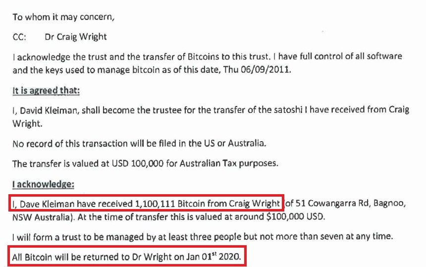 """All Bitcoin will be returned to Dr. Wright on Jan. 1, 2020,"" Kleiman wrote. (Source: Twitter)"