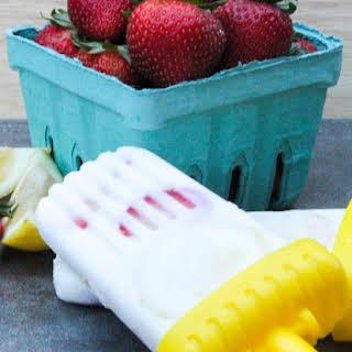 Strawberry Lemon Yogurt Popsicles.