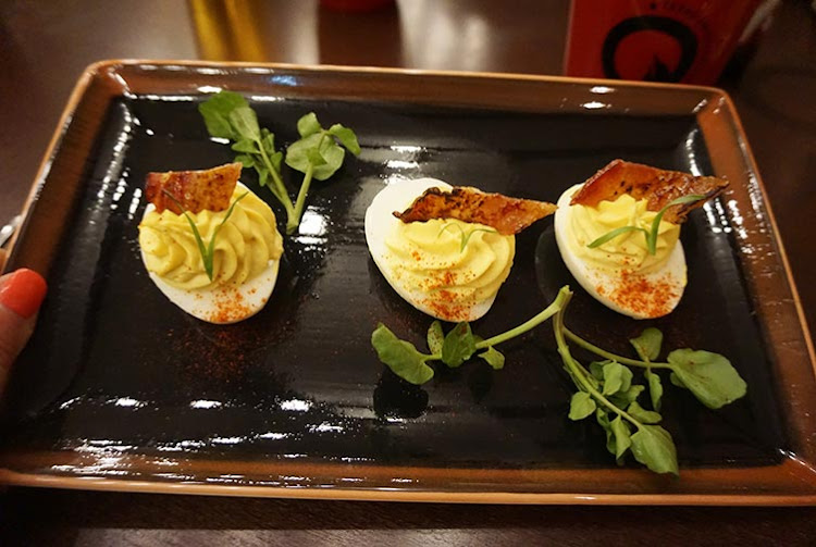 The deviled eggs appetizer at Q Texas Smokehouse on Norwegian Bliss.