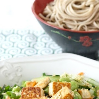 Pan-fried Tofu & Edamame Salad with Wasabi Dressing