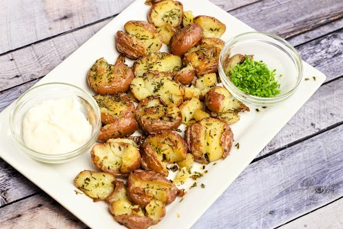 Smashed Roasted Herb Potatoes