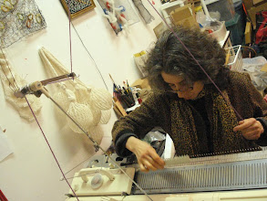 Photo: Adrienne is a very warm hostess, she took me to her studio and showed me her knitting machine! Photo credit: Ruth Marshall