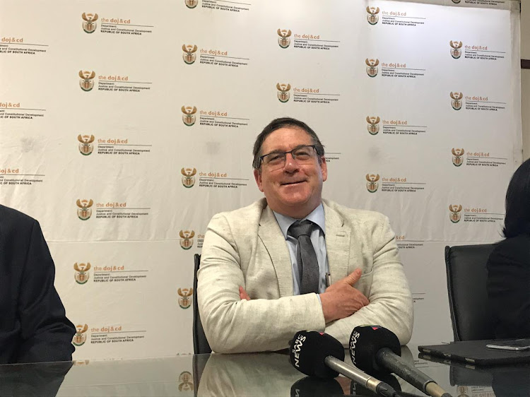 Deputy justice minister John Jeffrey briefs the media on Monday in the wake of a shooting at the Durban regional court last week.