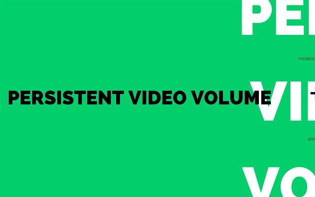 Persistent Video/Audio Volume