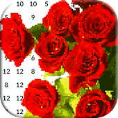 Roses Pixel Art: Flowers Color by Number icon
