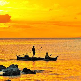 orange reflections by Greg Crisostomo - Landscapes Sunsets & Sunrises ( sunset, reflections, sea, fishing, boat,  )
