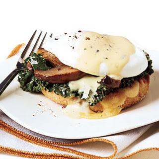 Vegetarian Benedicts with Thyme Sabayon.