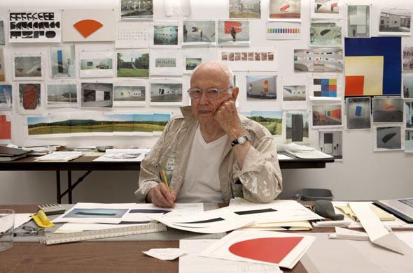 Ellsworth Kelly in his studio.  Photo: Jack Shear for W Magazine.