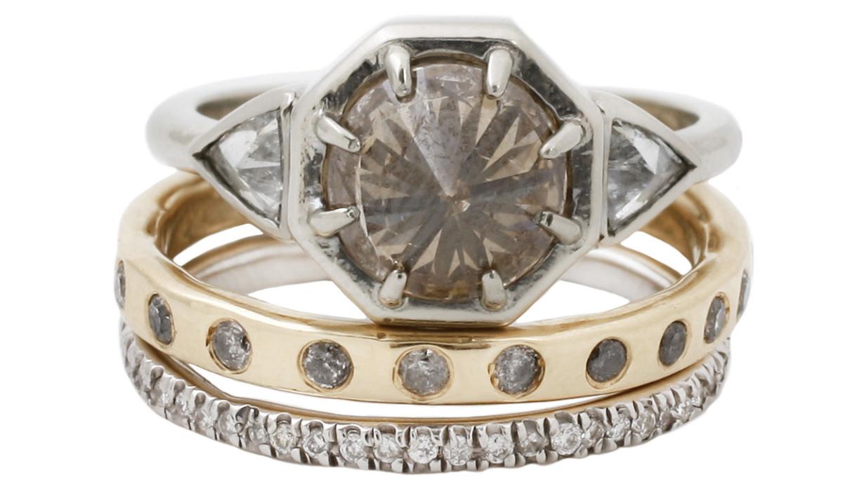 three diamond set lauren wolf jewelry