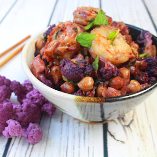 Shrimp Sambal with Roasted Cauliflower and Chickpeas.