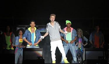 Photo: Mexico D.F., 11/06/2012, El cantante Justin Bieber durante su concierto en el Zocalo de la Ciudad de Mexico.