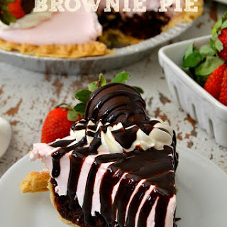 Chocolate Covered Strawberry Brownie Pie.