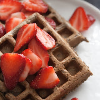 Buckwheat Waffles with Macerated Strawberries.