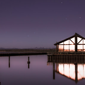 Calm night by Timothy Horng - Landscapes Waterscapes ( water, park, waterscape, speed, national, lake, yellowstone, stars, sunset, shutter, sunrise, slow, starscape )
