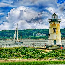 Oak Harbor Light House by Sandy Friedkin - City,  Street & Park  Vistas ( martha's vineyard, oak harbor, lighthouse, seascape, landscape )