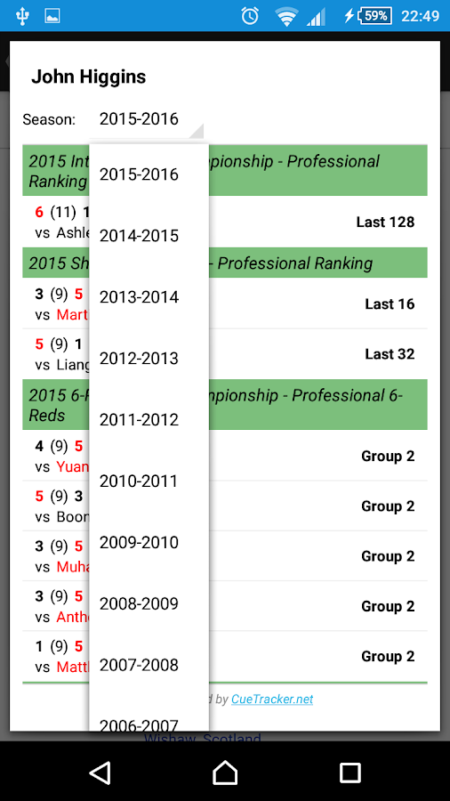 live snooker scores