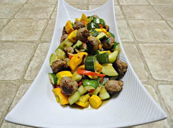 Summer Squash & Italian Meatball Stir-fry