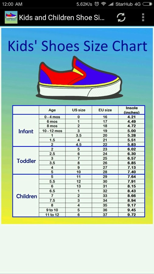 children shoe size chart android apps on play