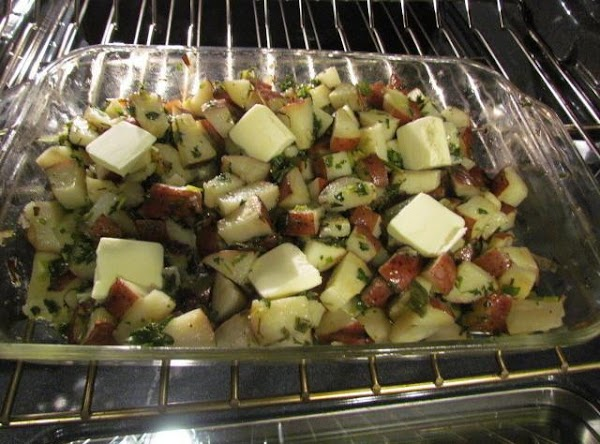 Bake at 350 until potatoes are tender, about half way through your baking stir...