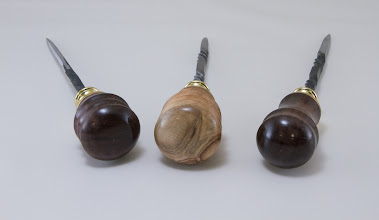 Photo: Matt Radtke scratch awls [silver maple, mineralized red gum, steel, and brass]