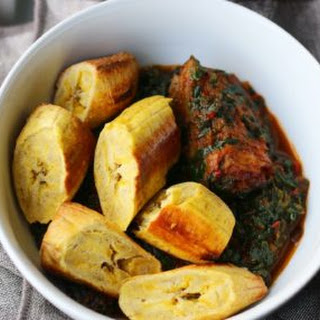Roasted Plantain with Vegetable Sauce.