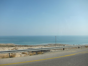 Photo: The Dead Sea. The water level was above where the highway is now at the time the British explored the area.